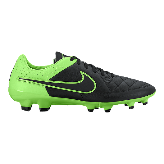 e3aa25f4e577 Nike Men s Tiempo Genio Leather FG Outdoor Soccer Cleats - Black Green