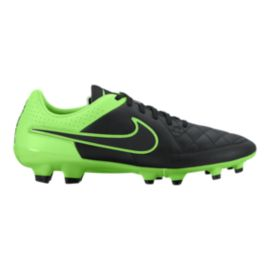 Nike Men's Tiempo Genio Leather FG Outdoor Soccer Cleats - Black/Green