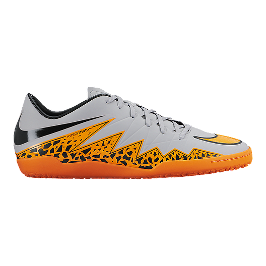 hot sale online 3f53c 37f20 Nike Men s HyperVenom Phelon 2 Indoor Soccer Shoes - Grey Orange Black    Sport Chek