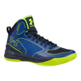 Under Armour Men's Anatomix Lightning II Basketball Shoes - Blue/Lime Green