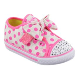 Skechers Toddler Girls Twinkle Toes Chit-Chat Casual Shoes - Grey/Pink