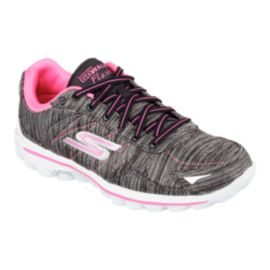 Skechers Women's Go Walk 2 Flash Linear Walking Shoes - Black/White/Pink