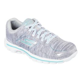 Skechers Women's Go Walk 2 Flash Walking Shoes - Grey Knit/White/Blue