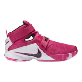"Nike Men's LeBron Soldier IX ""Key Yow"" Basketball Shoes - Pink/White"