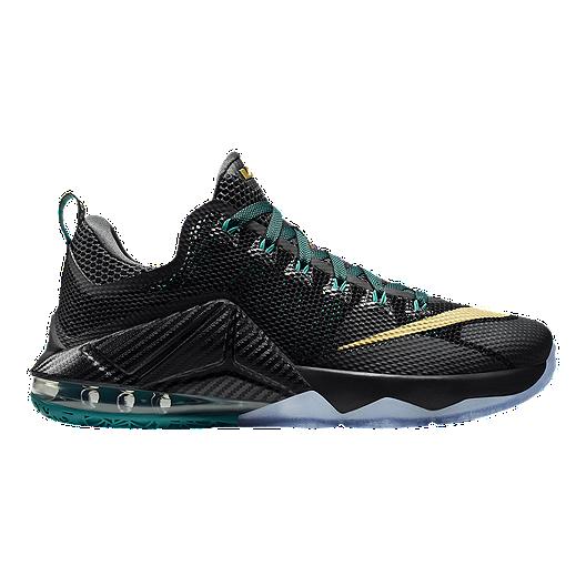 best website 374dc 58786 Nike Men's LeBron 12 Low Basketball Shoes - Black/Gold/Blue ...