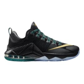 Nike Men's LeBron 12 Low Basketball Shoes - Black/Gold/Blue