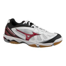 Mizuno Men's Wave Hurricane Indoor Court Shoes - White/Black/Red