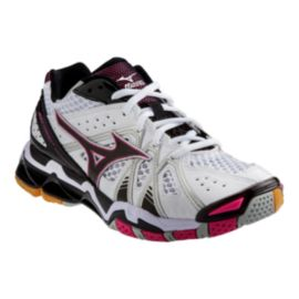 Mizuno Women's Wave Tornado 9 Indoor Court Shoes - White/Black/Pink