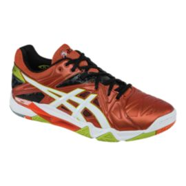 ASICS Men's Gel Cyber Sensei Indoor Court Shoes - Orange/White/Lime Green