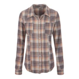 Roxy Driftwood Woven Women's Plaid Long Sleeve Top
