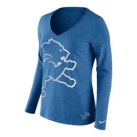 Detroit Lions Tri Logo Wrap Long Sleeve Women's Tee
