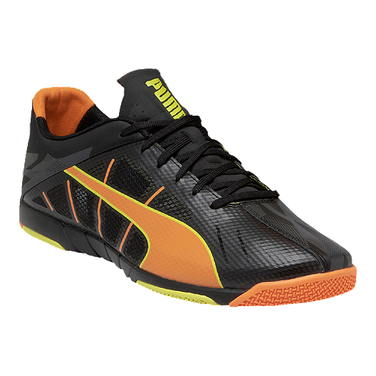 8ab06c19a36 PUMA Men s Neon Lite 2.0 Indoor Soccer Shoes - Black Orange Yellow ...