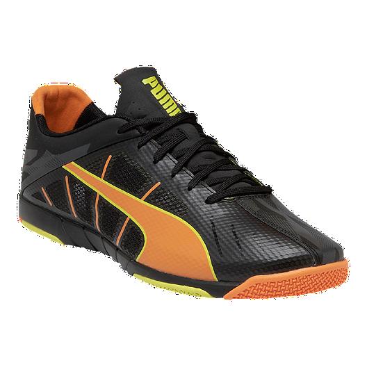 6fc3a0dbb PUMA Men s Neon Lite 2.0 Indoor Soccer Shoes - Black Orange Yellow ...