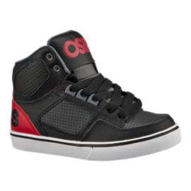 Osiris Kids' Crooklyn Grade School Skate Shoes - Black/Red/Grey