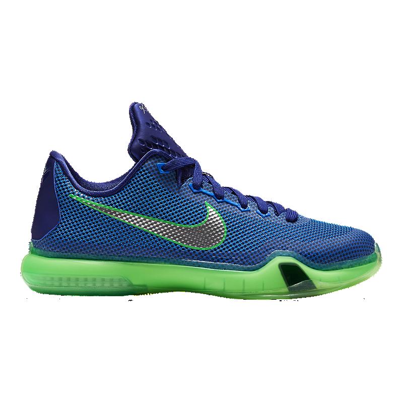 best website 7cfac 0b3d2 Nike Kids  Kobe 10 Grade School Basketball Shoes - Royal Silver Green    Sport Chek
