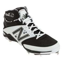 New Balance Men's M4040 D Metal Mid Baseball Cleats - White/Black