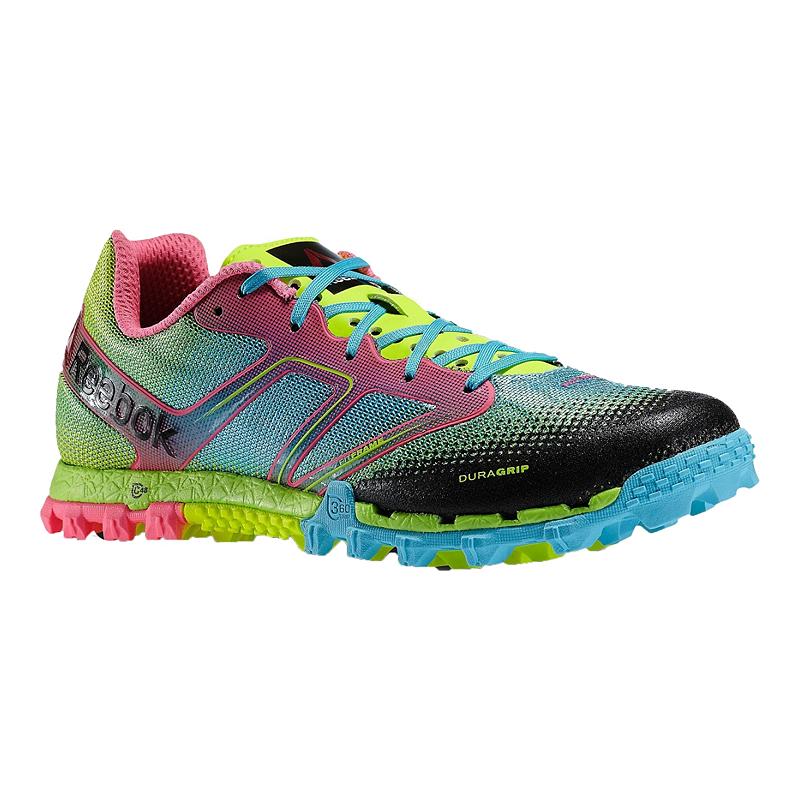 Reebok Women s All Terrain Super Trail Running Shoes - Green Blue Pink  Pattern  8ebf3d8b1