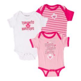 huge discount 010ae b8ea1 Toronto Maple Leafs Baby Girls' Lizzy 3 Piece Creeper Set ...