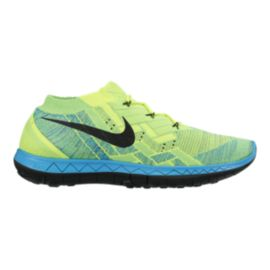 Nike Men's Free FlyKnit 3.0 Running Shoes - Volt Green/Blue/Black