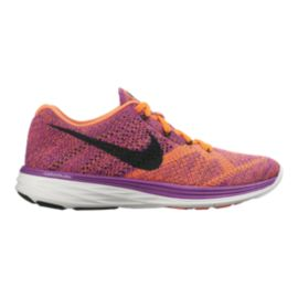 Nike Women's FlyKnit Lunar 3 Running Shoes - Pink/Orange/Black