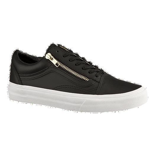 ade6e148ba3f Vans Women s Old Skool Zip Leather Skate Shoes - Black Gold