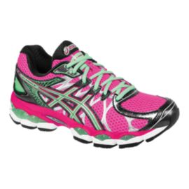 ASICS Women's Gel Nimbus 16 D Wide Width Running Shoes - Pink/Teal Green/Black