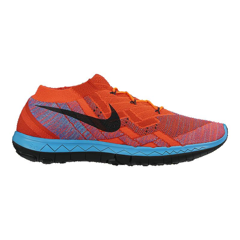 low priced 73564 22e83 Nike Men s Free FlyKnit 3.0 Running Shoes - Orange Blue Black   Sport Chek