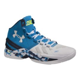 "Under Armour Men's Curry 2 ""Haight Street"" Basketball Shoes - White/Blue/Navy"