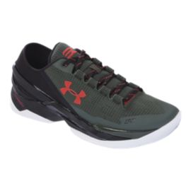"Under Armour Men's Curry 2 Low ""Hook"" Basketball Shoes - Dark Green/Black/Red"