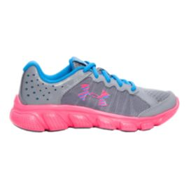 Under Armour Girls' Assert 6 Preschool Running Shoes - Steel/Pink/Blue