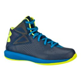 Under Armour Kids' Rocket Grade School Basketball Shoes - Navy/Blue/Yellow