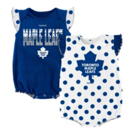 Toronto Maple Leafs Baby Polka Fan Blue Creeper Set - 2-Piece
