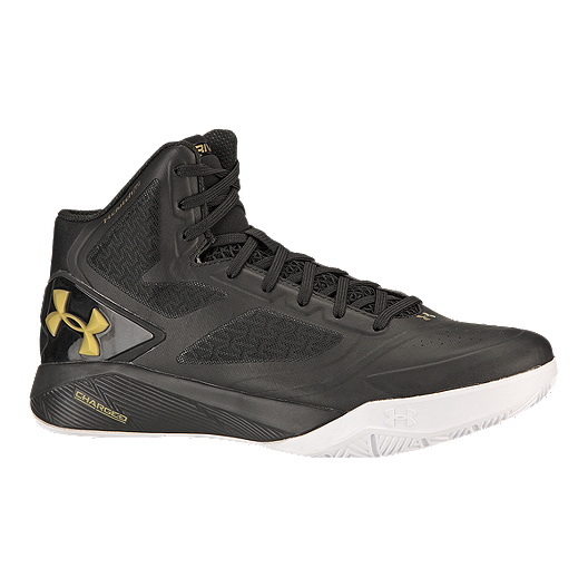 15b4fbc8e37f06 Under Armour Men s ClutchFit Drive 2 Basketball Shoes - Black Gold ...