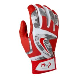 Nike MVP Elite Batting Gloves - White / University Red