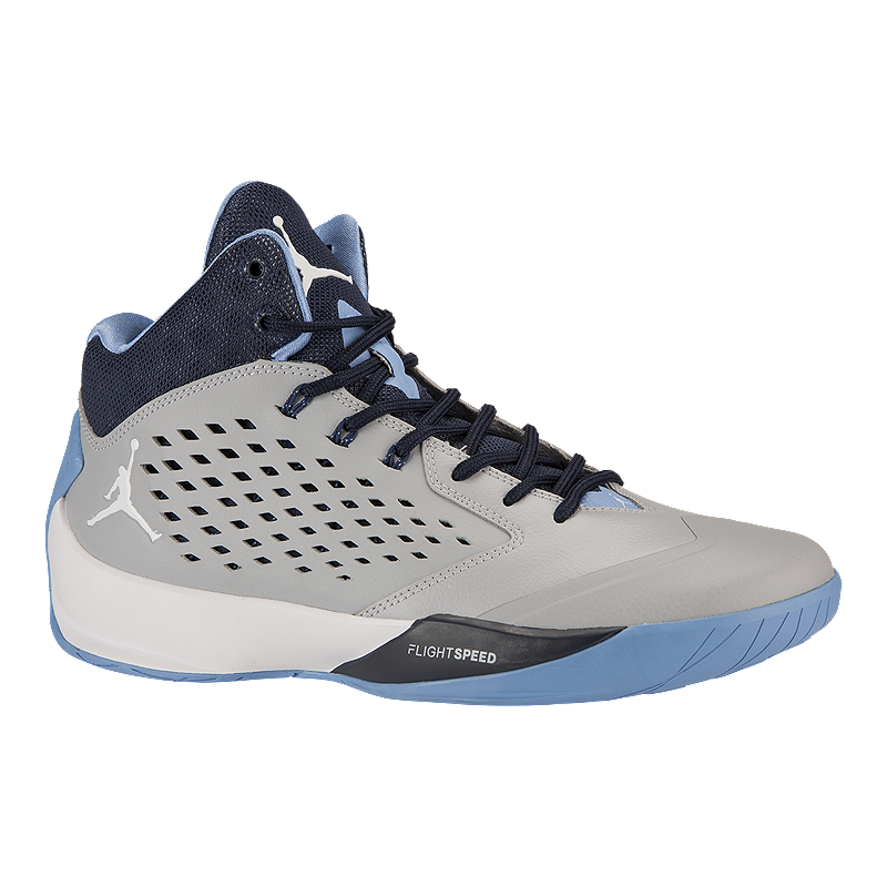 1272f7cd8f1278 Nike Men s Jordan Rising High Basketball Shoes - Grey Navy Blue ...