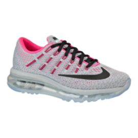Nike Girls' Air Max 2016 Grade School Running Shoes - Grey/Black/Pink