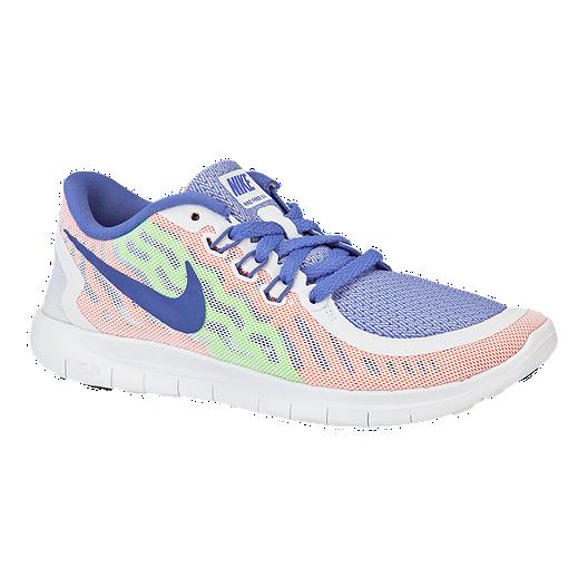 official photos 2b5a4 3ae98 Nike Girls  Free 5.0 Grade School Running Shoes - White Blue Mango   Sport  Chek