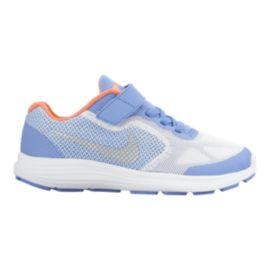 Nike Girls' Revolution 3 Preschool Running Shoes - Blue/Silver/Mango