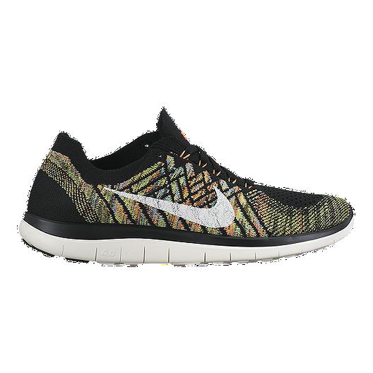5c11fba9f1aa Nike Women s Free 4.0 FlyKnit Running Shoes - Black Pattern Orange Bolt  Green
