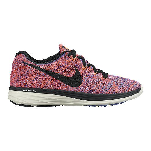 7e1f9ab0f6 Nike Women's FlyKnit Lunar 3 Running Shoes - Orange/Blue/Black | Sport Chek