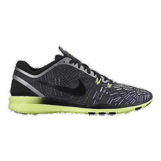 ee0ea7cdf730 Nike Women s Free 5.0 TR Fit 5 Print Training Shoes - Black Volt Green