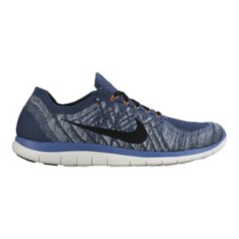 Nike Men's Free 4.0 FlyKnit Running Shoes - Blue/Grey/Black