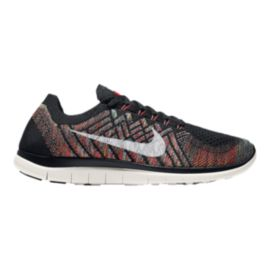 Nike Men's Free 4.0 FlyKnit Running Shoes - Black Pattern/Orange/Teal