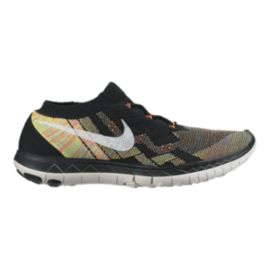 Nike Men's Free FlyKnit 3.0 Running Shoes - Black/Rainbow Orange