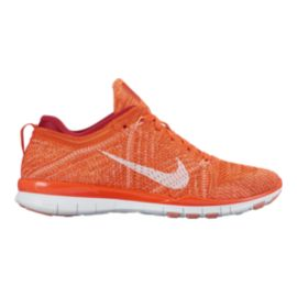 Nike Women's Free FlyKnit TR Training Shoes - Orange/White