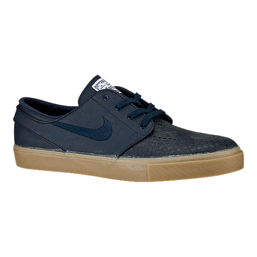 official photos f55db 58bd7 Nike Zoom Janoski Leather Men s Skate Shoes - Navy Blue Tan   Sport Chek