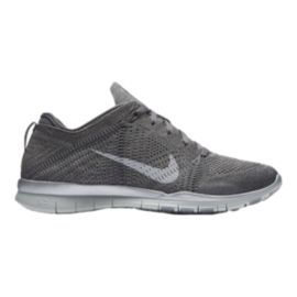 Nike Women s Free FlyKnit TR5 Metallic Training Shoes - Grey Silver ... 322785e9ee