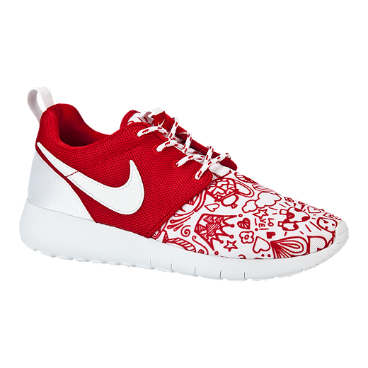 best choice fantastic savings how to buy Nike Girls' Roshe One Print Grade School Casual Shoes - Red/White ...