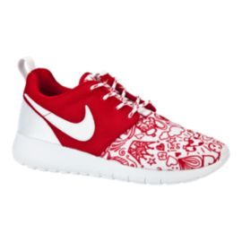 Nike Girls' Roshe One Print Grade School Casual Shoes - Red/White