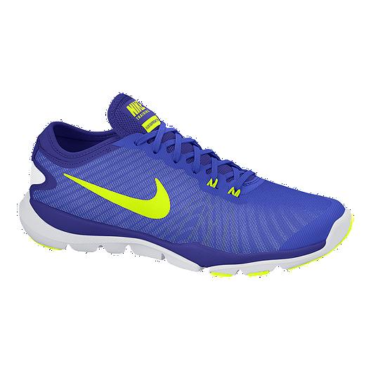 Nike Women S Flex Supreme Tr 4 Training Shoes Royal Volt Green Sport Chek
